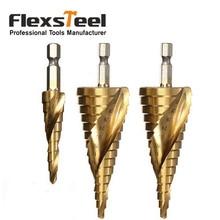 цена на 3pcs/set Titanium Coated HSS Spiral Grooved Core Drill Step Drill Bit 4mm to 12mm/20mm/32mm Cut Tool Set