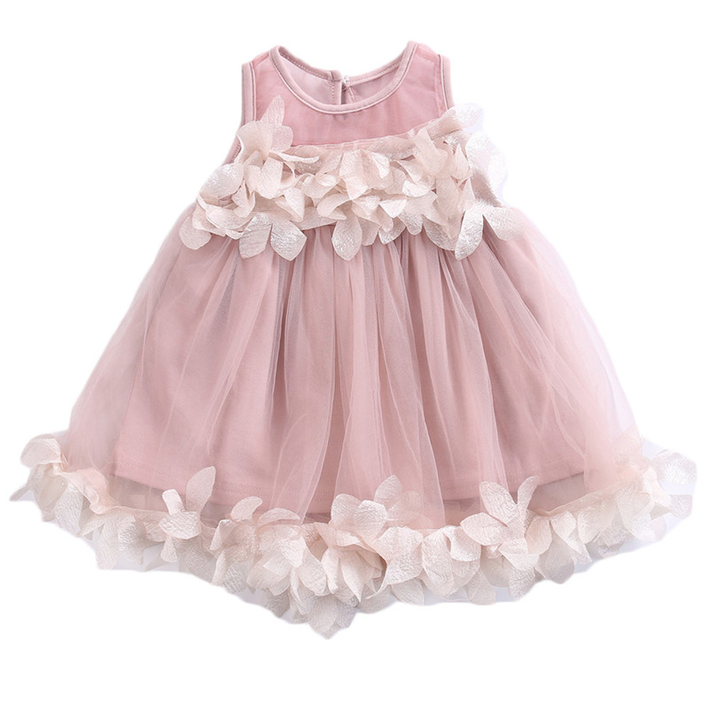 Children Girls Summer Lace Dress Sleeveless Princess Pageant Bridesmaid Tulle Petal Formal Party Dresses