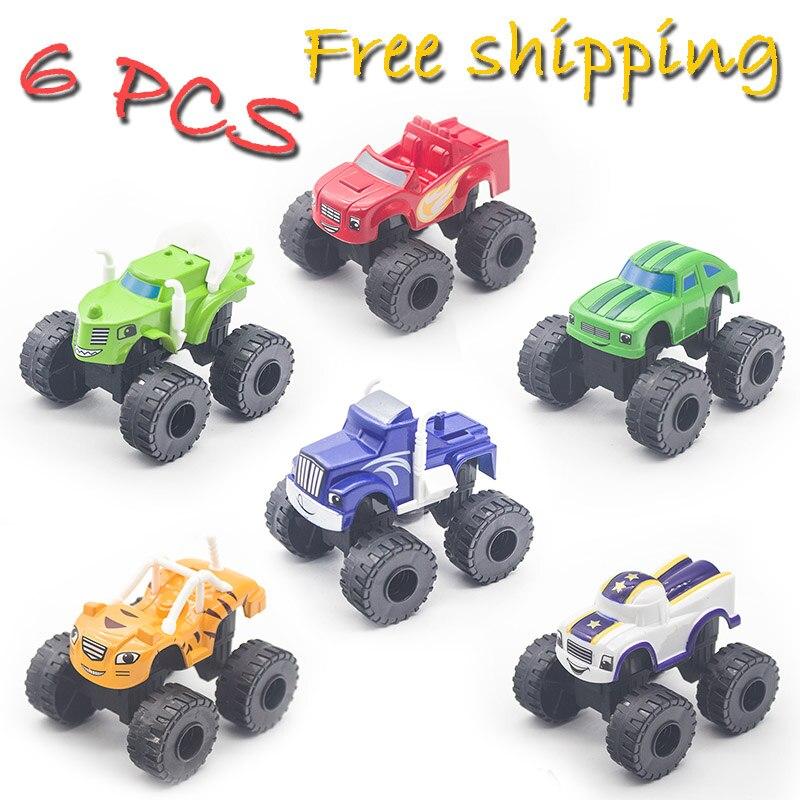 6 pçs/lote blaze milagre carros máquinas monstro rússia criança brinquedos carro blaze veículo brinquedos com caixa original melhores presentes para crianças