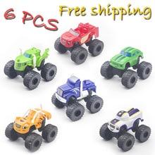 6PCS Blaze Monster Machines Toys Vehicle Car Transformation Con la caja original Mejores regalos para niños Envío gratis