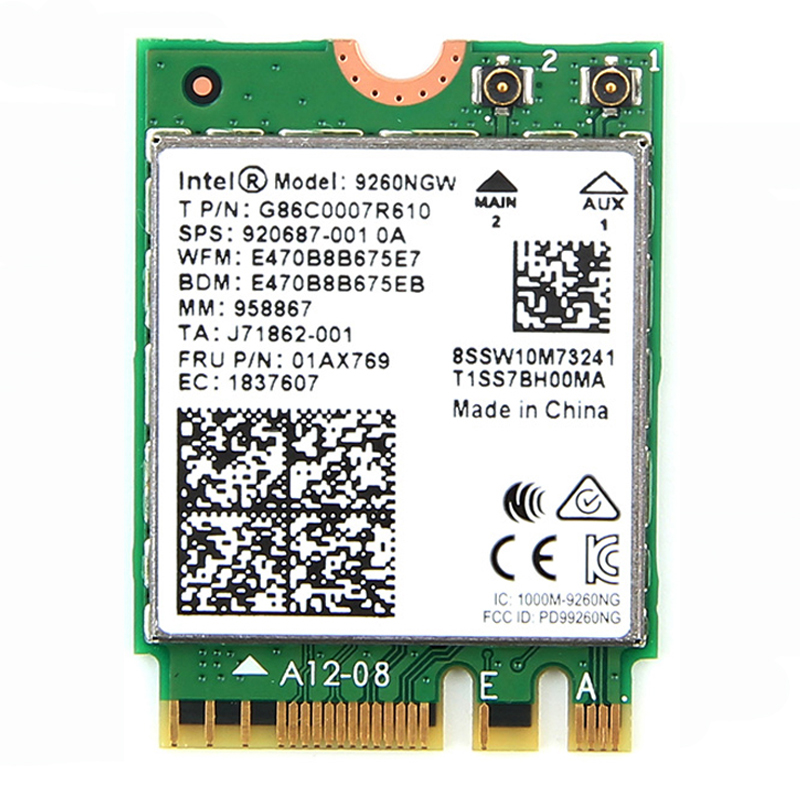 1730Mbps Wireless 9260NGW Wifi Network Card For Intel 9260 AC Dual Band NGFF 802 11ac Bluetooth 5 0 With 2x Antennas for Laptop in Network Cards from Computer Office