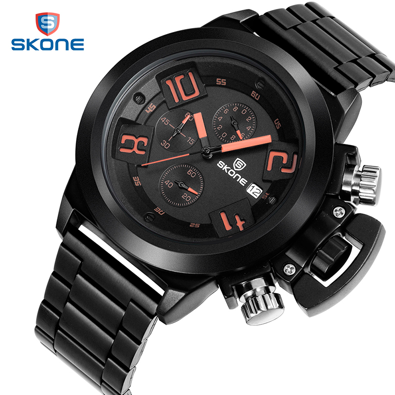 цена на SKONE Calendar Chronograph Military Watches Men Fashion Casual Sports Genuine Silicone Strap Watch Time Clock Relogio masculino
