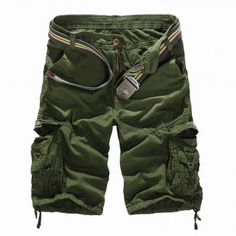 MONERFFI Camouflage Camo Cargo Shorts Men 2019 Casual Shorts Male Loose Work Shorts Man Military Short Pant Plus Size No Belt