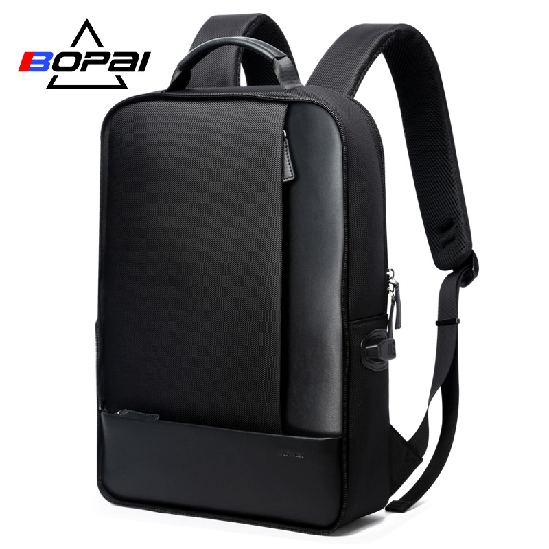 BOPAI Casual Leather Travel Backpacks with 15.6 inch Laptop Backpack 2 in 1 Multifunctional Men Daily Use Travel Bag USb charge