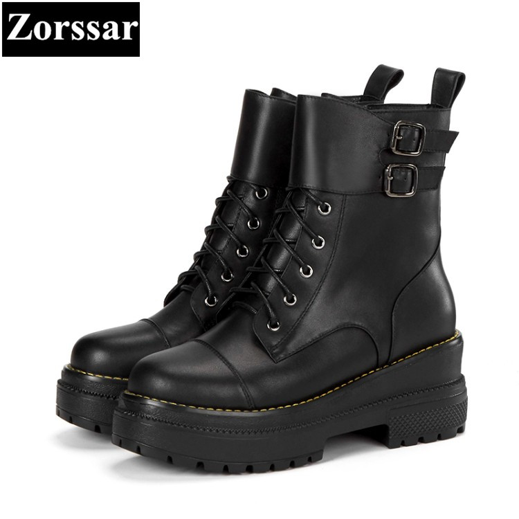{Zorssar} 2017 winter Woman shoes Fashion Leather Ankle Motorcycle Boots Female Casual lace up High heels platform short shoes yaerni woman fashion genuine leather motorcycle ankle boots female lace up low heels platform comfortable spring autumn shoes