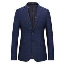 Classic Plaid Blazer Men 2018 Spring New Slim Fit Long Sleeve Casual Jacket Plus Size Formal Business Suit Coat Male