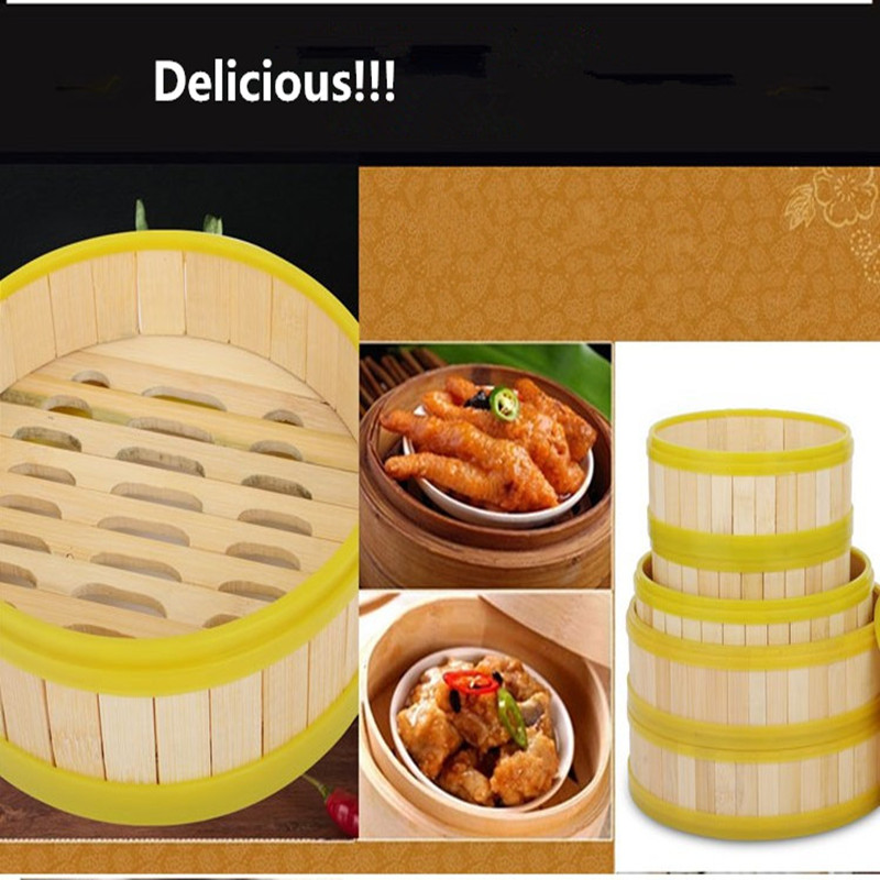 1suit cookware bamboo steamer yellow plastic side wrapping for Perfect kitchen dim sum