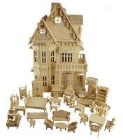 Educationa Gothic House Wooden Scale Models 3D Puzzle 1 Sets 1House 1SET Furniture 30 18 45CM