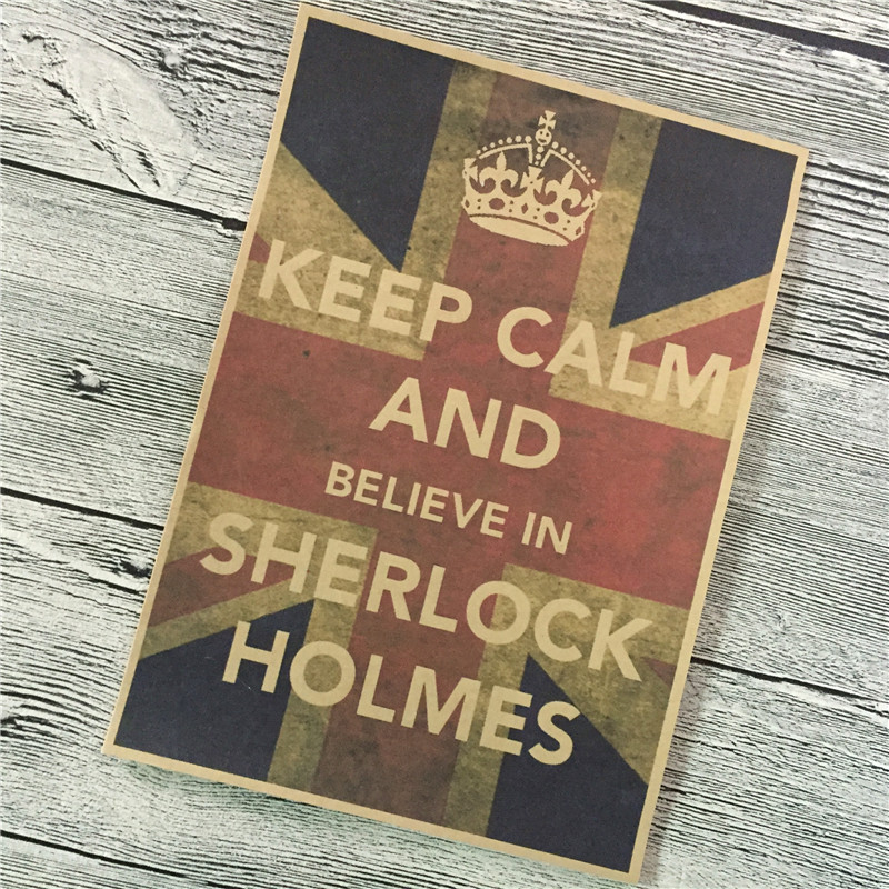 Keep calm sherlock holmes vintage movie poster retro kraft for 10 living room cafe by eplus