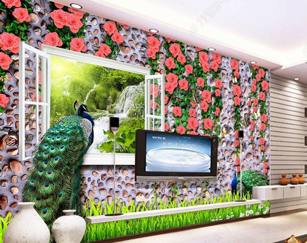 large wallpaper mural wallpaper living room Custom 3d luxury wall paper Rose Peacock 3d photo wallpaper murals 3d stereoscopic large mural custom wall paper the living room backdrop bedroom fabric wallpaper murals 3d visual fake window