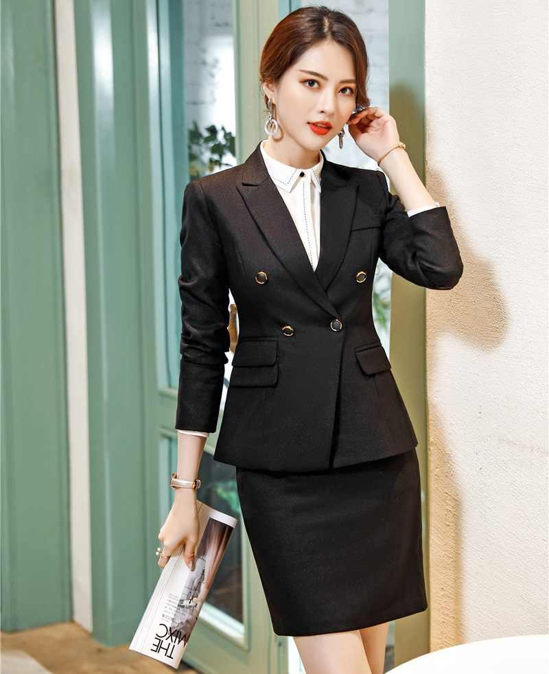 Женский деловой костюм с юбкой, элегантный офисный костюм черного и синего цвета с пиджаком, костюм для работы