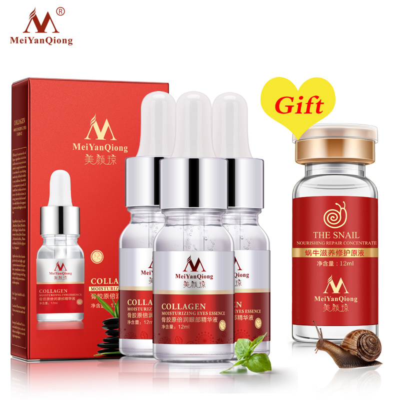 цена Buy 3 Get 1 Gift Collagen Moisturizing Eyes Essence Anti-Aging Remove Dark Circle Eye Care Lift Anti-Wrinkle Skin Care