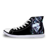 ELVISWORDS Casual Men's   Shoes   Fashion 3D Animal   Vulcanized     Shoes  ,Cool 3D Tiger Dog Husky Classic Men High Top Canvas Flat   Shoes