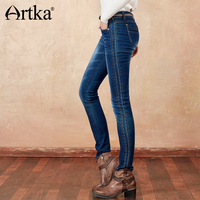ARTKA 2018 Summer Light Washed Elastic All match Side Embroidery Long Straight Casual Jeans KN11377D