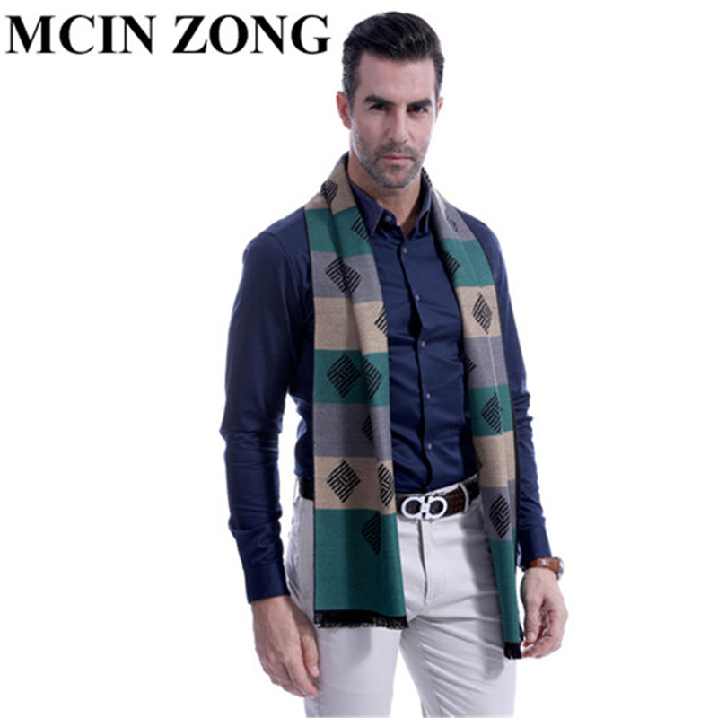 Men Scarf Winter Autumn Man Scarves Wrap Shawl Thick Print Men's Scarf  Warm Cotton Cashmere Wool Blended Knit Brushed Scarf
