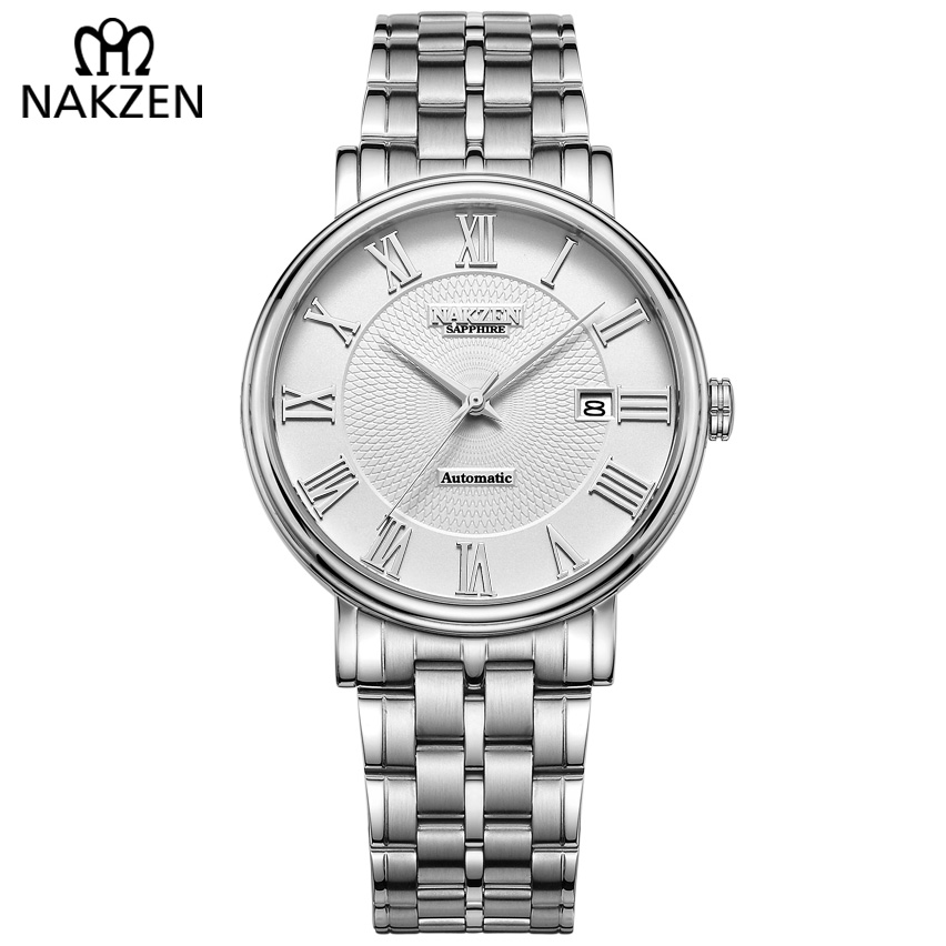 Men Luxury Automatic Watch Mechanical Business Wrist Watches MIYOTA 9015 Male Classic Casual Man Clock NAKZEN Reloj Hombre-in Mechanical Watches from Watches    1
