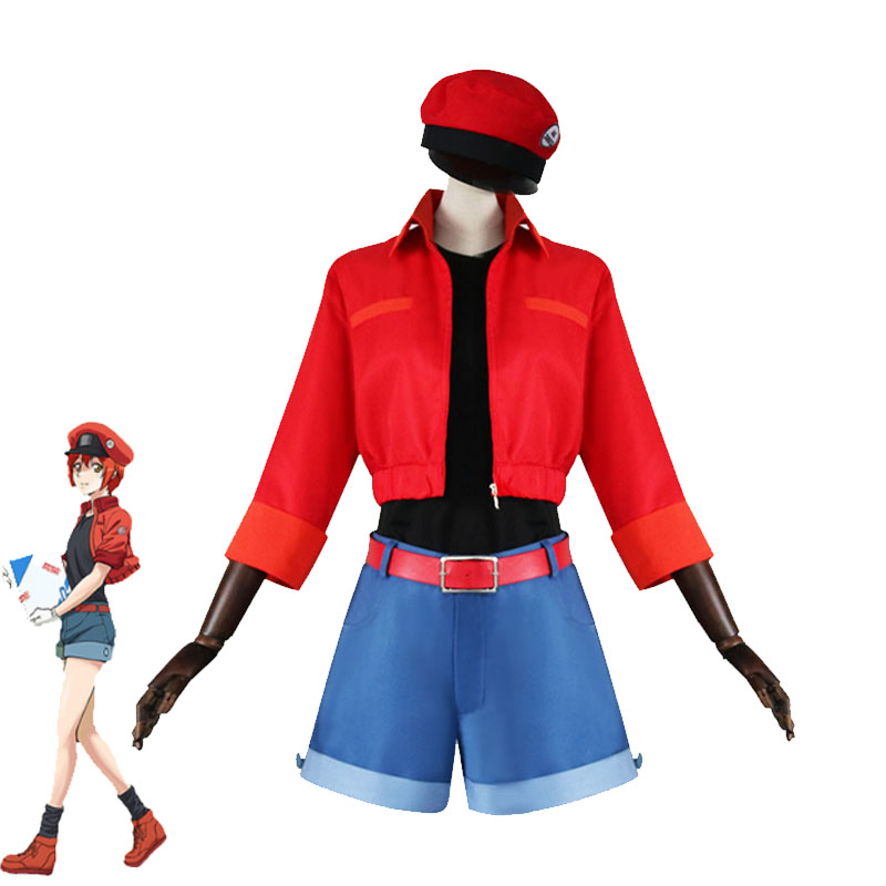 Anime Cells At Work Hataraku Saibou Cosplay Costumes Erythrocytes Cosplay Full Set Red Blood Outfits Halloween Carnival Uniforms