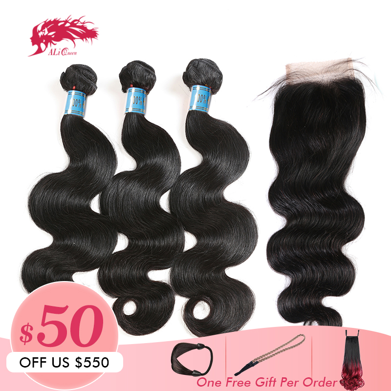 Ali Queen Hair Products Peruvian Body Wave Virgin Hair 3 Bundles With A Lace Closure Free