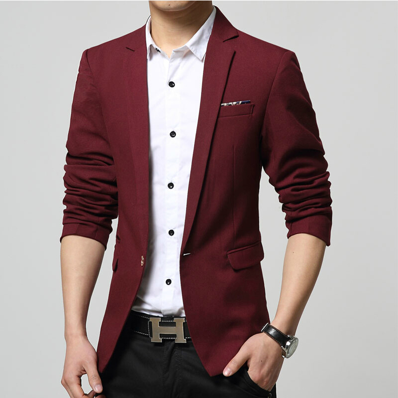 6afeb081d82 2015 Spring Autumn Men Suit Casual Slim Stylish fit One Button Suit Men  Blazer Coat Jackets Fashion Men Garment 4XL-in Blazers from Men s Clothing    ...