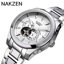 NAKZEN Top Brand Luxury Self Wind Automatic Mechanical Watches Mens Waterproof 100m Full Steel Skeleton Tourbillon Wristwatch