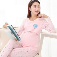 2PC Cotton Nursing Pajamas Set Adjustable Maternity Nursing Sleepwear Plus Size Long Sleeve Maternity Breast Feeding Clothes Set