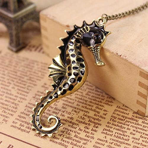 Unisex Fashion Cute Ocean Animal Seahorse Pendant Sweater Chain Long Necklace