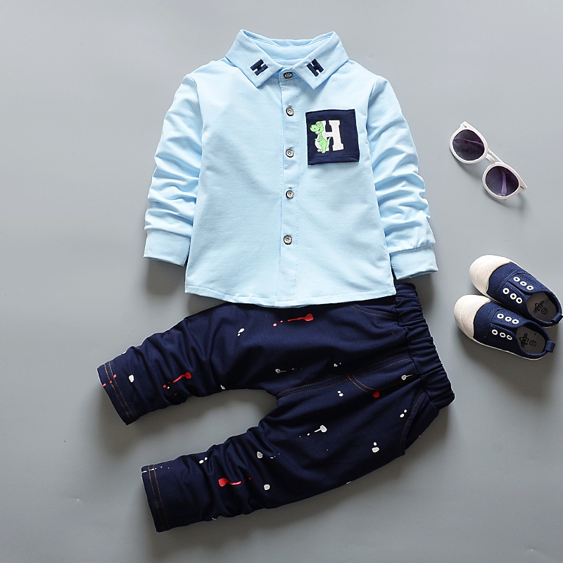 цена на BibiCola Newborn Baby Boy Clothing Sets Baby Boys Long Sleeve Tops T-shirt +Pants Gentleman Suit Kids Outfits Children Clothing