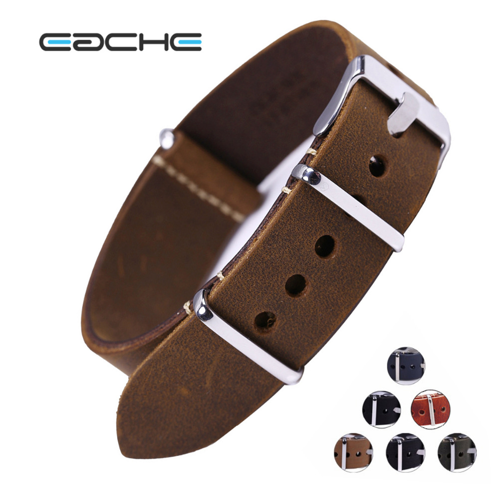 EACHE Vintage/Crazy Hours Genuine Leather Watchband Nato Leather Watch Straps More color&Size 20mm 22mm 24mm Wholesales eache 20mm 22mm 24mm 26mm genuine leather watch band crazy horse leather strap for p watch hand made with black buckles