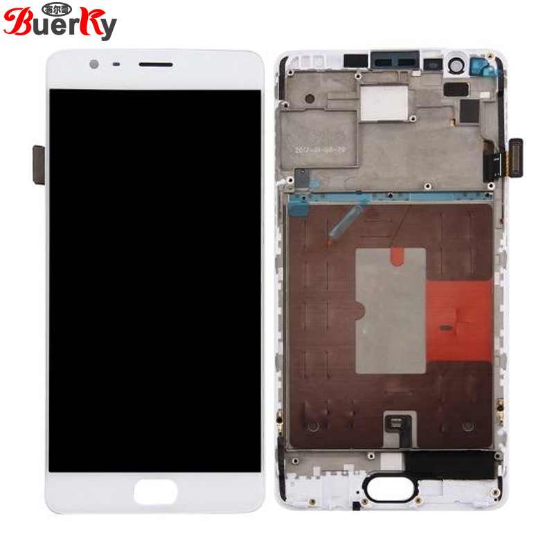 BKparts For 5.5 Oneplus 3 3T A3010 A3000 A3003 oneplus three FHD lcd display touch screen+frame assembly digitizer replacement