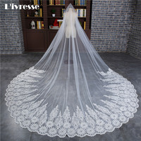 Best Quality 2017 New Luxury Wedding Veil Sequin With Comb Special Appliques Edge Veil Bridal Kathedrale Brautschleier
