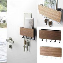 Новая настенная деревянная декоративная настенная полка, коробка для хранения мелочей, вешалка, органайзер для ключей, деревянная настенная полка