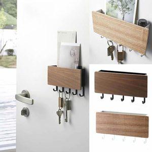 New Wall-hung Type Wooden Decorative Wall Shelf Sundries Storage Box Prateleira Hanger Organizer Key Rack Wood Wall Shelf(China)