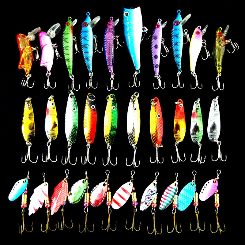 Fishing Lure 30pcs/lot 3g-7g Minnow/Popper Spinner Spoon Metal Lure Iscas Artificial Bait Fishing Lure Kit Isca Artificial goture 96pcs fishing lure kit minnow popper spinner jig heads offset worms hook swivels metal spoon with fishing tackle box