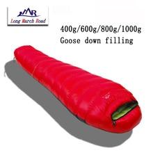 Lmr ultraleve impermeável confortável ganso branco para baixo enchimento 400g/600g/800g/1000g pode ser emendado saco de dormir saco de couchage