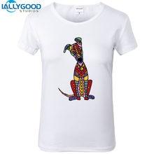ef6b12d4ea Nova Verão Colorido Engraçado Cão Galgo Arte Abstrata-T Shirs Mulheres  bonito Branco de Manga Curta Tops de Algodão Fino Camisas.