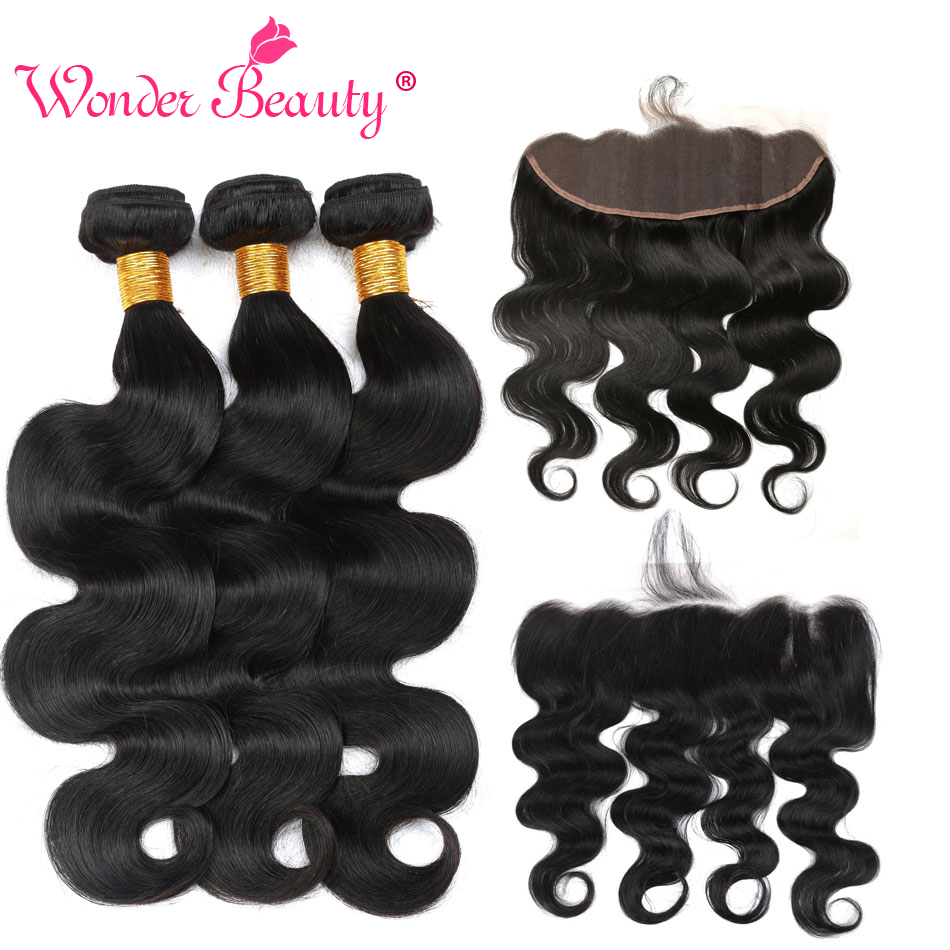 Wonder Beauty Brazilian Body Wave 13x 4 Ear To Ear Lace Frontal Closure With Bundles Human Hair 3 Bundles With Frontal NonRemy