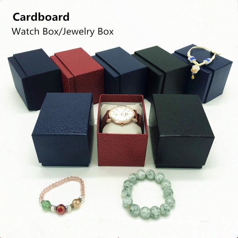 Professionele Verkoop Nieuwe Kartonnen Horloge Dozen Groothandel Goedkope Horloge Opbergdoos Zwarte Kleur Luxe Horloge Gift Case Vrouwen Sieraden Doos W060
