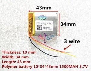 Image 3 - 3 خط لتر بطارية الطاقة 3.7 فولت بطارية ليثيوم بوليمر 103443 1500 مللي أمبير آلة لعبة MP3 MP4 MP5 بطارية ليثيوم لتحديد المواقع الملاح