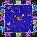 130 cm * 130 cm Marca de Moda de Lujo Lindo Patrón Pequeño Caballo de la Marca Bufanda de Seda Pañuelo Cuadrado de Twill Mujeres Chal y Bufandas SH15102113