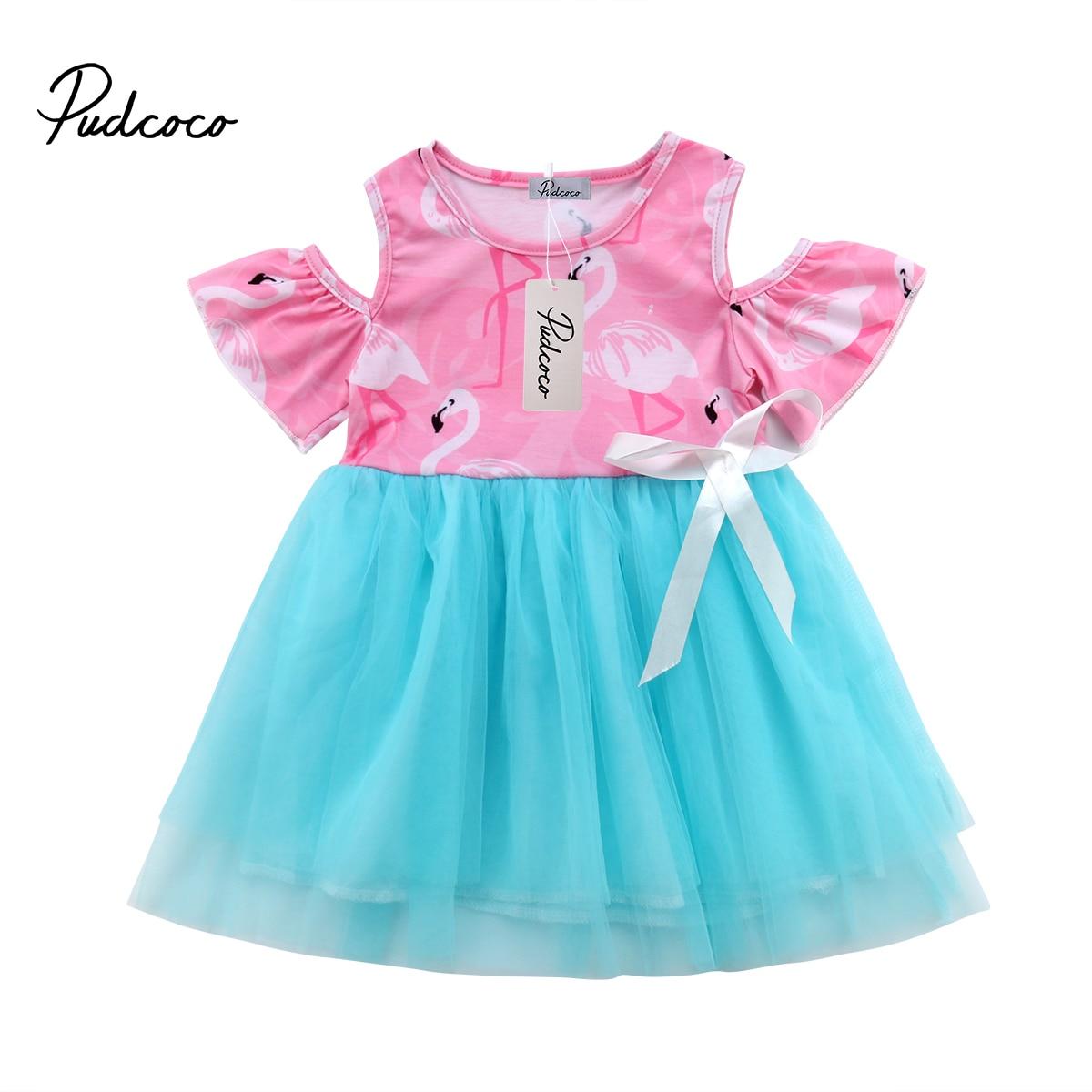 2018 Brand New Toddler Infant Kids Girl Flamingo Dress Summer Casual Off  Shoulder Tulle Dresses Chiffon b9bf6e901e09