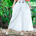 White And Black High Waist Embroidery Solid Color Pleated Fake Design Cotton Linen Wide Leg Pant 2017 Women Spring Summer New
