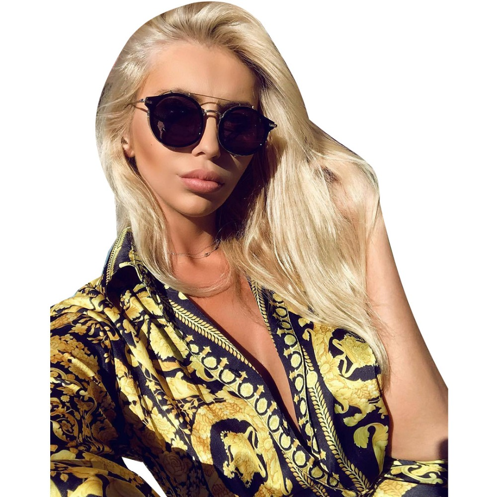 2019 new women gold printed long sleeve blouses shirts vintage above knee mini dress vestidos Fashion pleated shirt dress in Dresses from Women 39 s Clothing