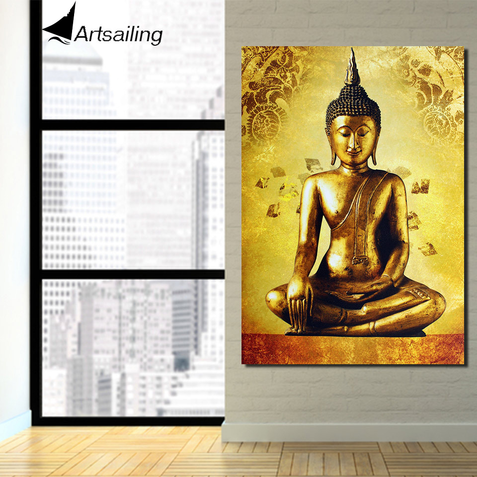 1 piece canvas art golden buddha framed art canvas painting posters ...