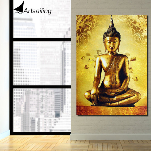 1 piece canvas art golden buddha framed art canvas painting posters ...