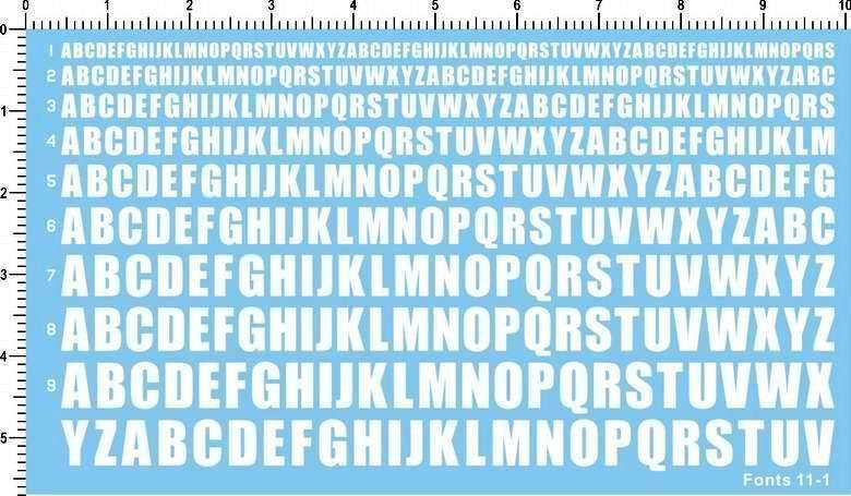 Detail Up US ARMY ARIAL FONTS Characters Numbers Model Water Slide Decal Black