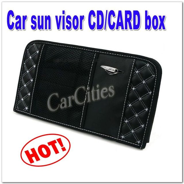 Good quality Car sun visor card/CD box, Auto accessories CD holder clip,card bag,hide fiber material,fashion design