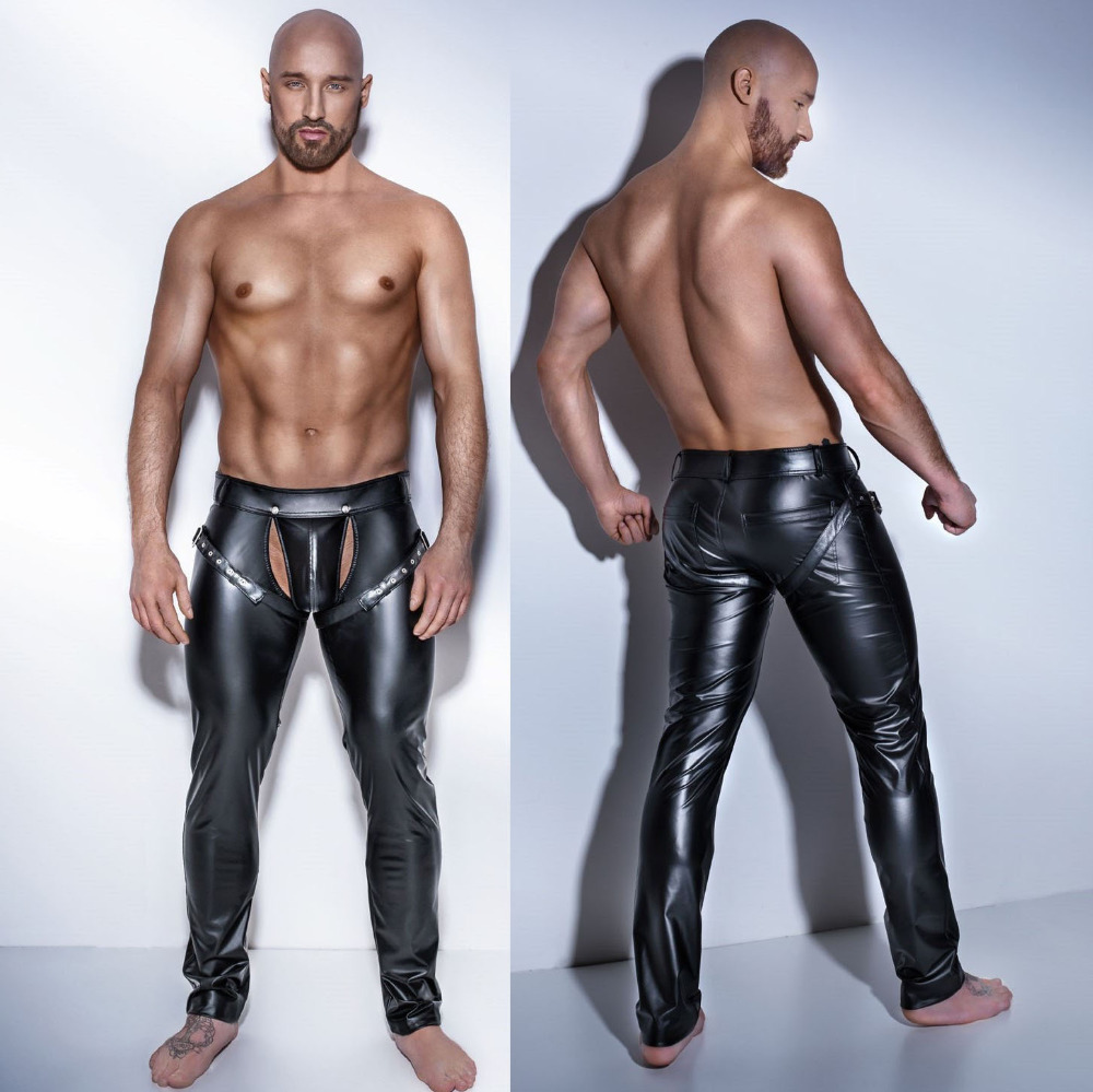 2018 Sexy Men Faux Leather Open Crotch Erotic Latex Pants PVC Night Club Men Straps Trousers