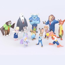 The cute my Zootopia 12pcs little Cartoon Utopia Action Figure Pvc Mini Models 4-7cm Nick fox Judy Rabbit Dolls poni