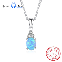 Oval Blue Opal Stone Pendant Necklace 925 Sterling Silver Necklaces & Pendants OL Jewelry Best Gift For Her (JewelOra NE102035)