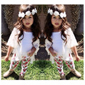 Розничная Летние Девушки Одежда Устанавливает Цветок Леггинсы Брюки + Жилет + верхняя одежда Пальто Дети Девочка 3 шт. Набор детская Одежда костюмы